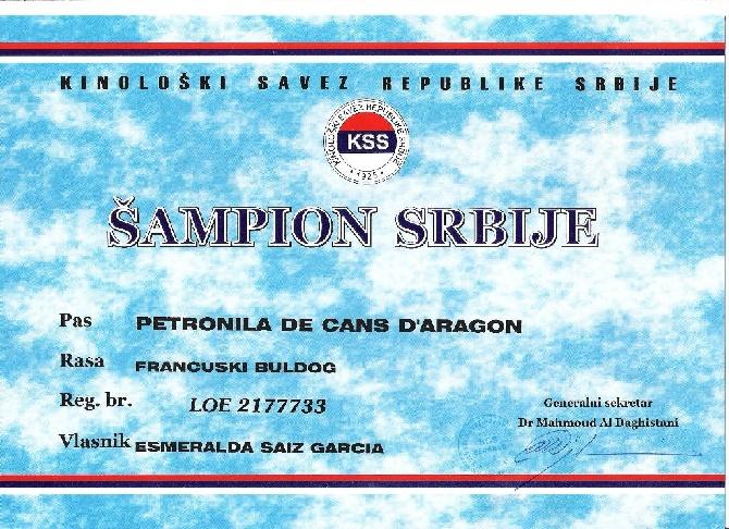 De Cans D'aragon - nouveaux Championnes Serbia 2015