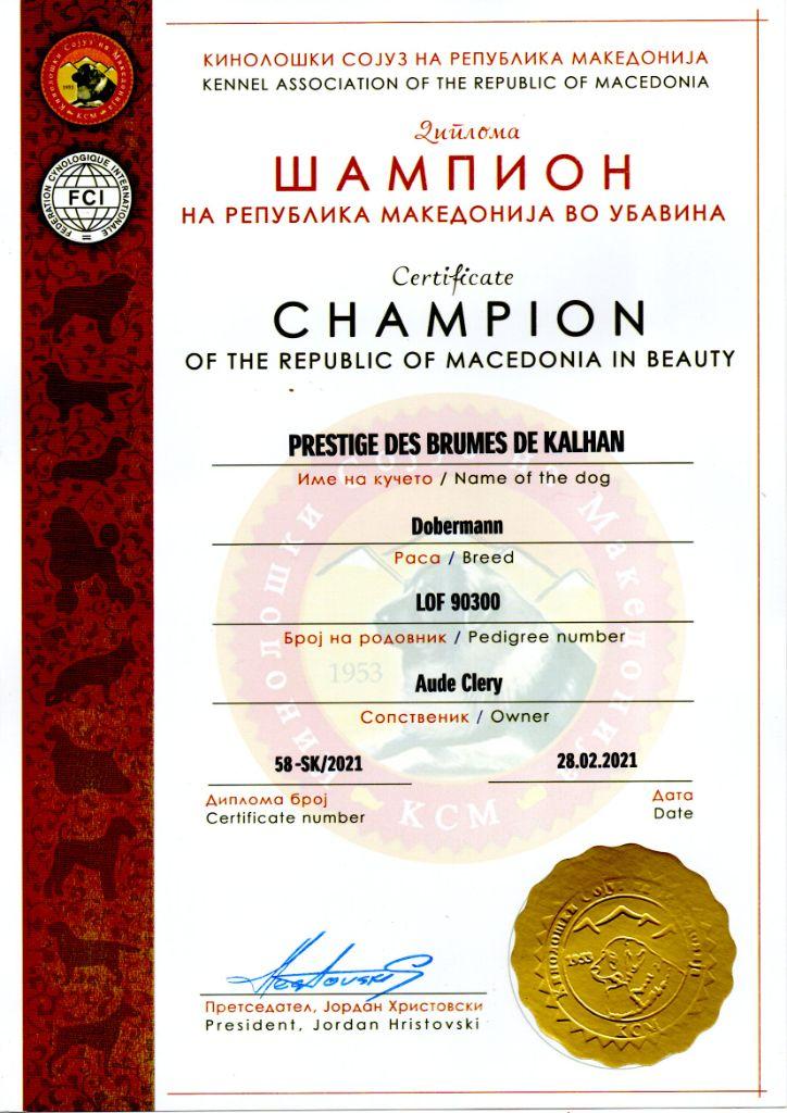 Des Brumes De Kalhan - Prestige, Championne de la République de Macédoine !