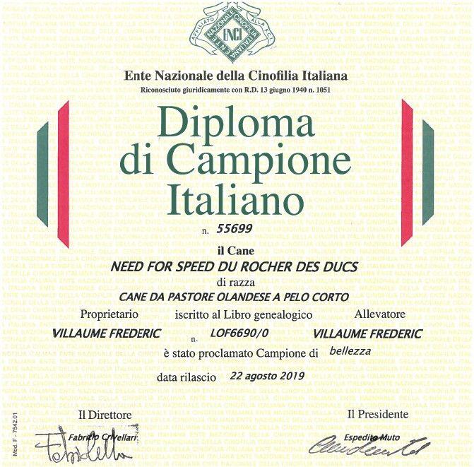 Du Rocher Des Ducs - Speed officiellement Championne d'Italie !