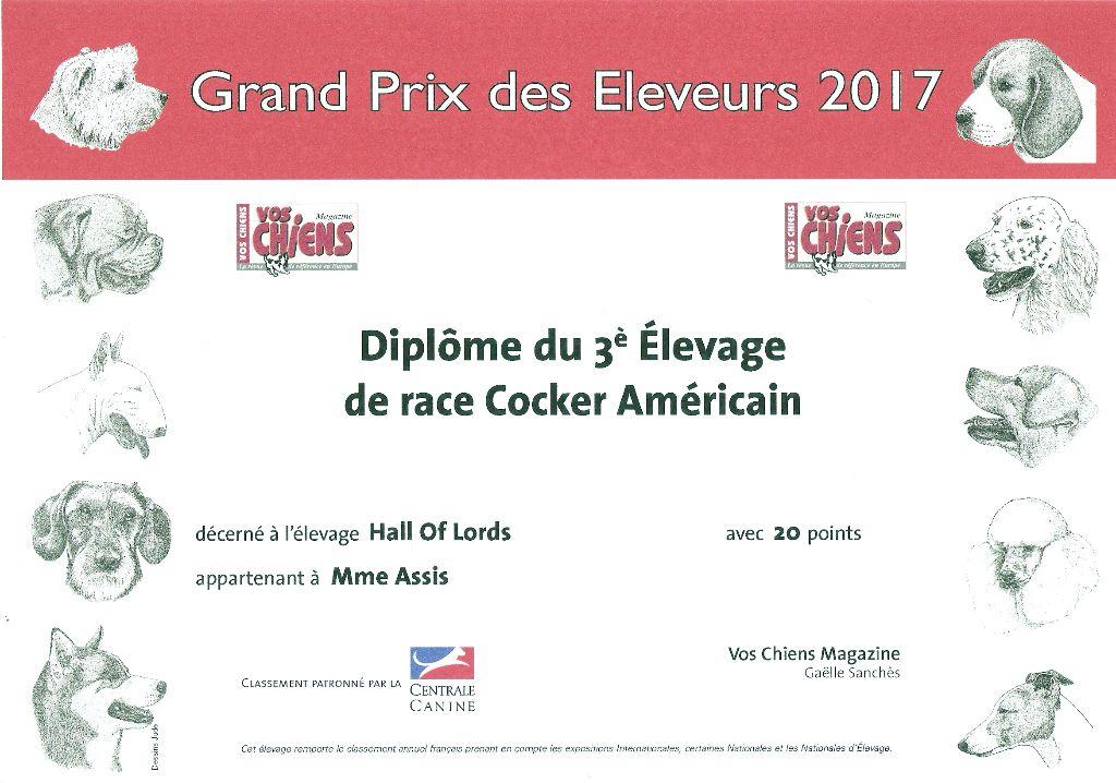 Hall Of Lords - 3ème Meilleur Elevage de Cocker Americain de France en 2017.