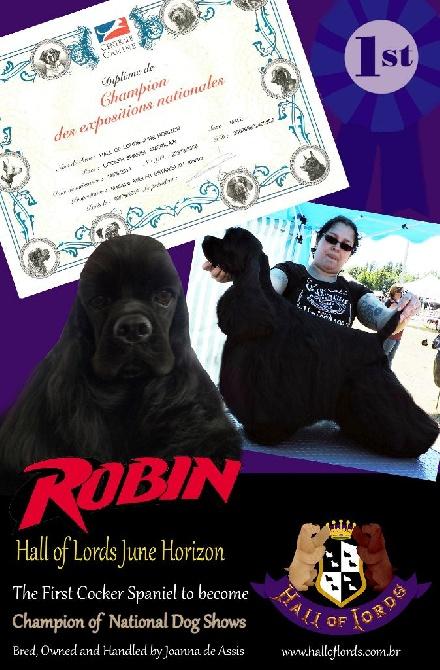 Hall Of Lords - Robin est le premier Cocker Champion des Expositions Nationales!
