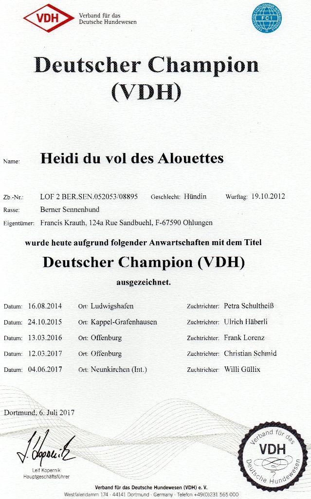 Du vol  des alouettes - Heidi est Champion d'Allemagne (VDH)