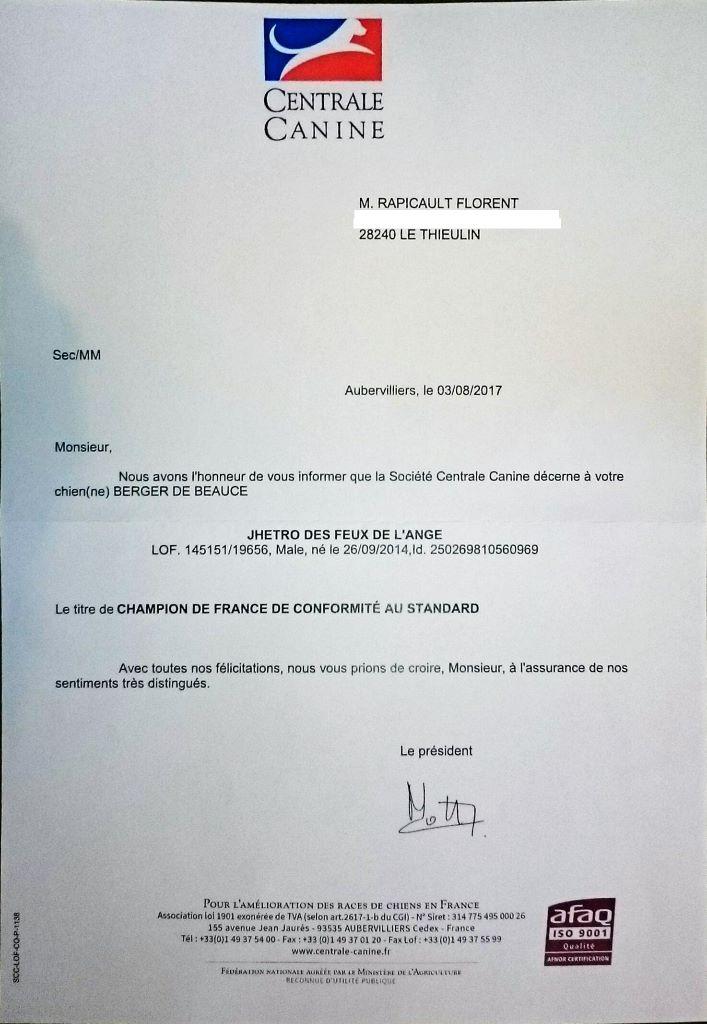 des Feux de l'Ange - Jhetro Champion de France