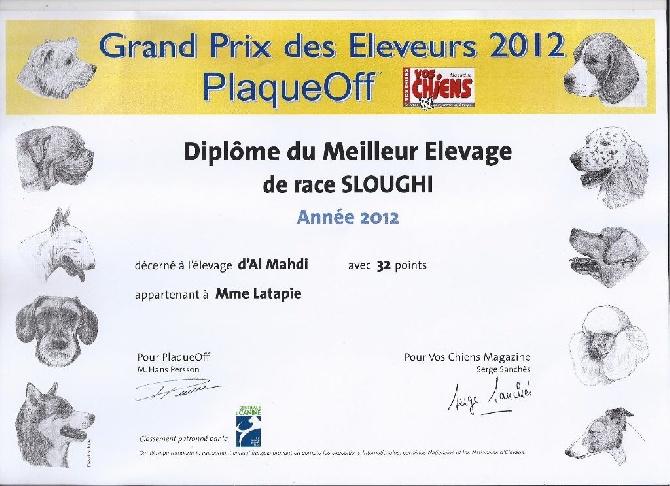 d'Al Mahdi - meilleur Top Elevage Année 2012